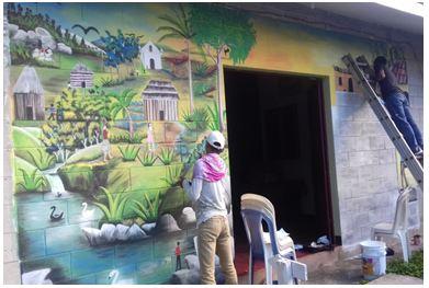 Jóvenes muralistas expresando su sentir a través del Arte
