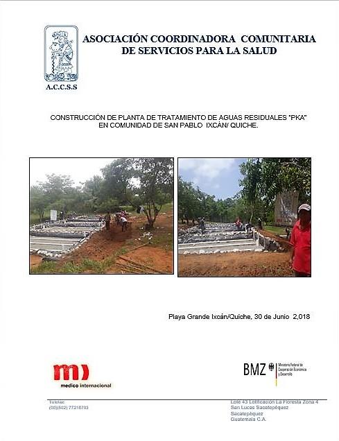 CONSTRUCCIÓN DE LA OBRA DE PLANTA DE TRATAMIENTO DE AGUAS RESIDUALES  PKA EN LA COMUNIDAD DE SAN PABLO