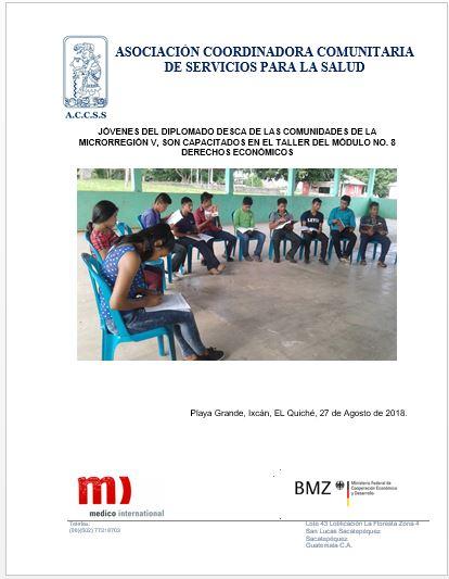 Jóvenes del Diplomado DESCA de la Microrregión V, son capacitados en taller del Módulo No. 8