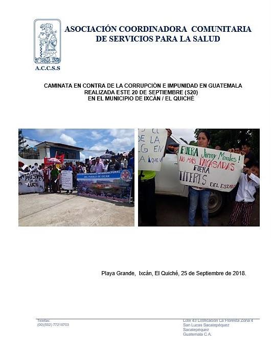 Caminata en contra de la Corrupción e Impunidad en Guatemala realizada en el Municipio de Ixcán, El Quiché
