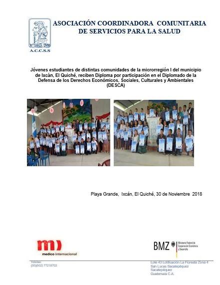 Entrega de Diplomas a Jóvenes de las diferentes comunidades de la microrregión I