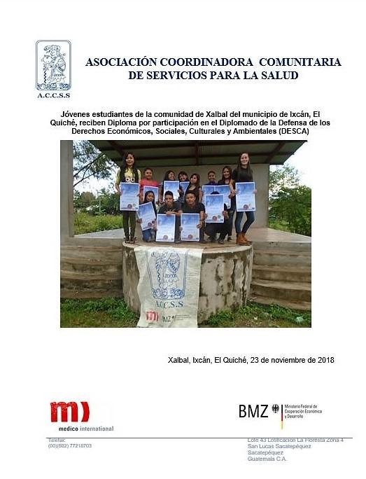 Entrega de Diplomas a Jóvenes del Diplomado DESCA de la comunidad de Xalbal