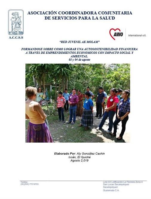 Jóvenes de la Red Ak´ Molam participan en Formación sobre cómo lograr una sostenibilidad Financiera