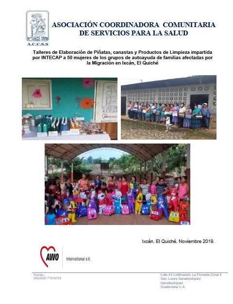 Talleres de Elaboración de Piñatas, canastas y Productos de Limpieza impartida por INTECAP