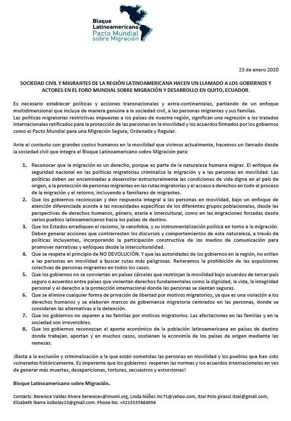 POSICIONAMIENTO BLOQUE LATINOAMERICANO, PACTO MUNDIAL SOBRE MIGRACIÓN