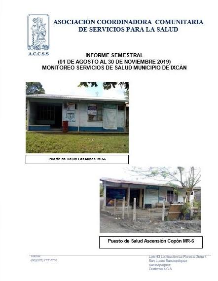 «INFORME SEMESTRAL» MONITOREO SERVICIOS DE SALUD MUNICIPIO DE IXCÁN