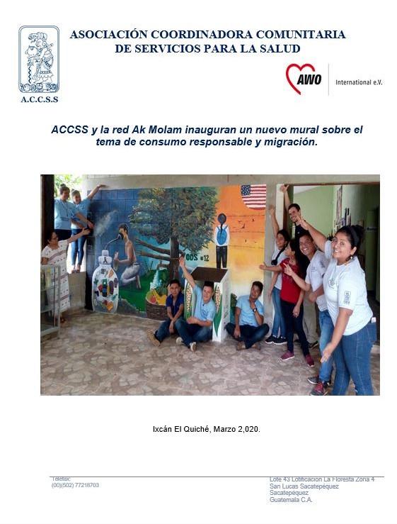 """Inauguración de Elaboración de Mural sobre el tema de """"Consumo responsable y migración"""""""