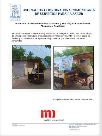 Promoción de la Prevención de Coronavirus (COVID-19) en el municipio de Champerico, Retalhuleu