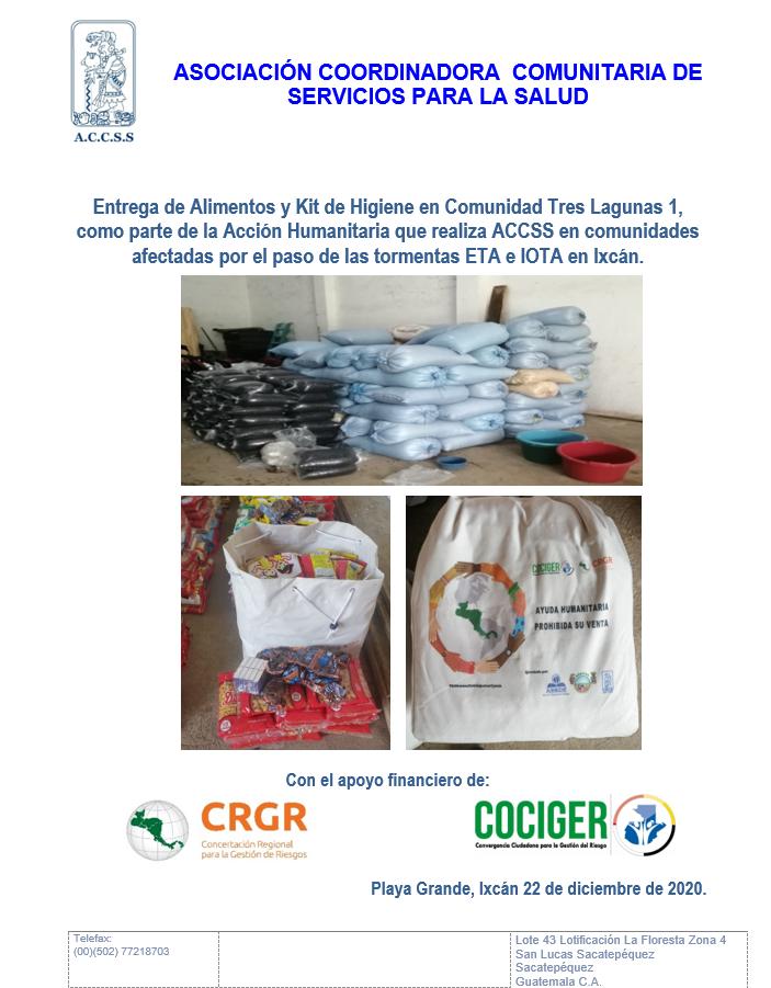ACCSS Entrega Alimentos y Kits de Higiene en la Comunidad TRES LAGUNAS 1, del municipio de Ixcán, por las afecciones ocasionadas por las tormentas ETA e IOTA en el norte de Guatemala.