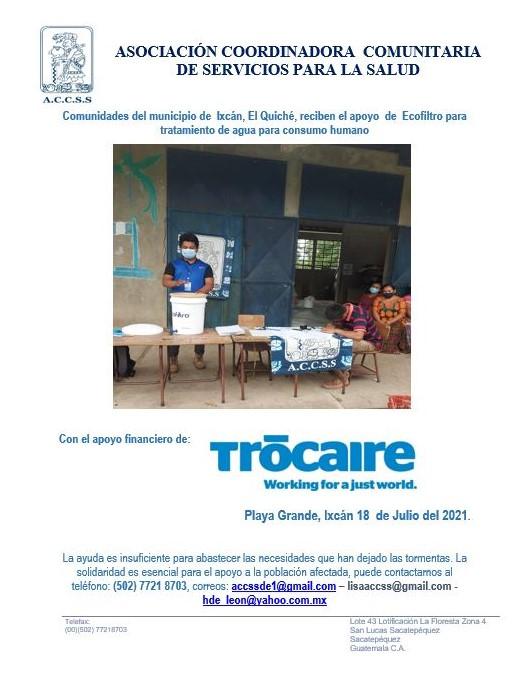 Comunidades del municipio de  Ixcán, El Quiché, reciben el apoyo  de  Ecofiltro para tratamiento de agua para consumo humano