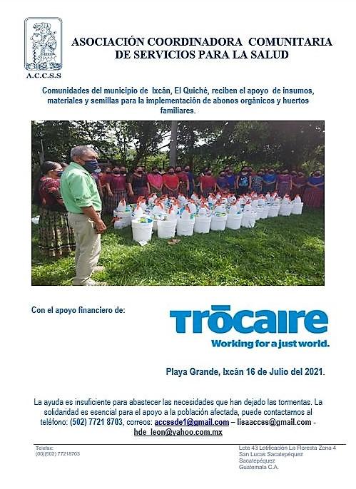 Comunidades del municipio de  Ixcán, El Quiché, reciben el apoyo  de insumos, materiales y semillas para la implementación de abonos orgánicos y huertos familiares.