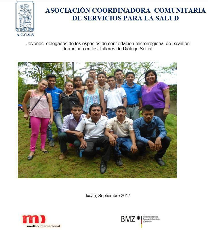 Jóvenes  delegados de los espacios de concertación microrregional de Ixcán en formación en los Talleres de Diálogo Social