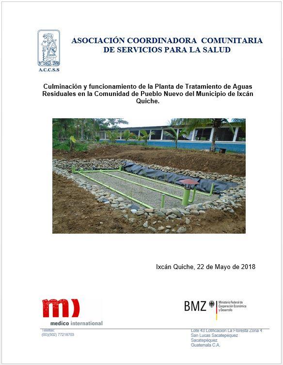 FUNCIONAMIENTO DE PLANTA DE TRATAMIENTO DE AGUAS RESIDUALES PKA EN LA COMUNIDAD DE PUEBLO NUEVO