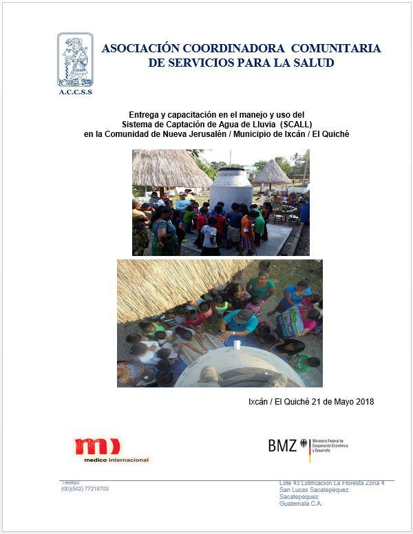 ENTREGA DE OBRA DE SISTEMA DE CAPTACIÓN DE AGUA DE LLUVIA  (SCALL)