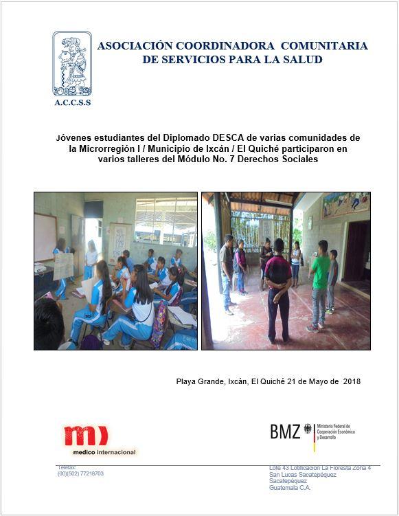 TALLERES DEL MÓDULO 7 EN DIFERENTES COMUNIDADES DE LA MICRORREGIÓN I