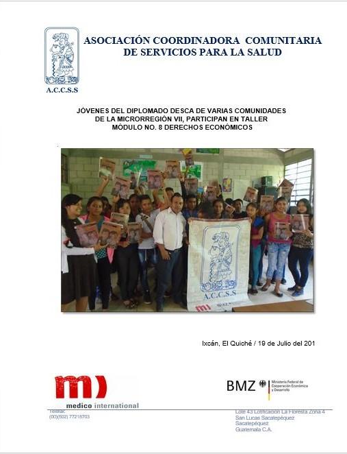 Jóvenes del Diplomado DESCA son Capacitados en Taller del Módulo 8 Derechos Económicos en la Microrregión VII