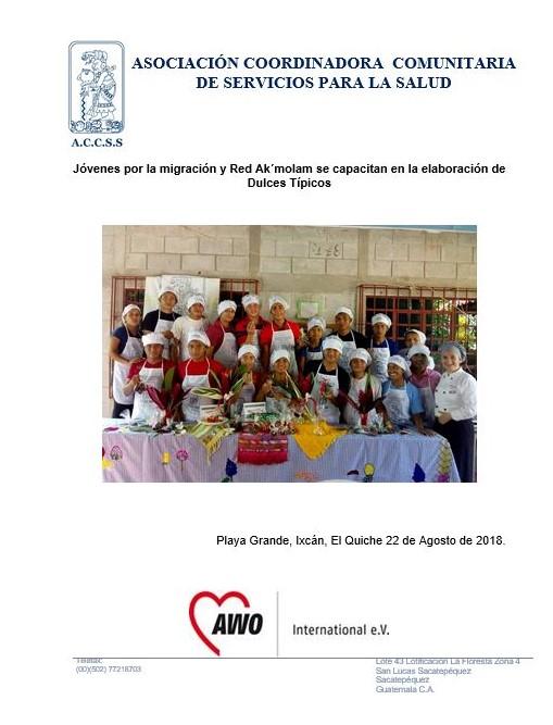 Jóvenes del municipio de Ixcán son capacitados en la Elaboración de Dulces Típicos