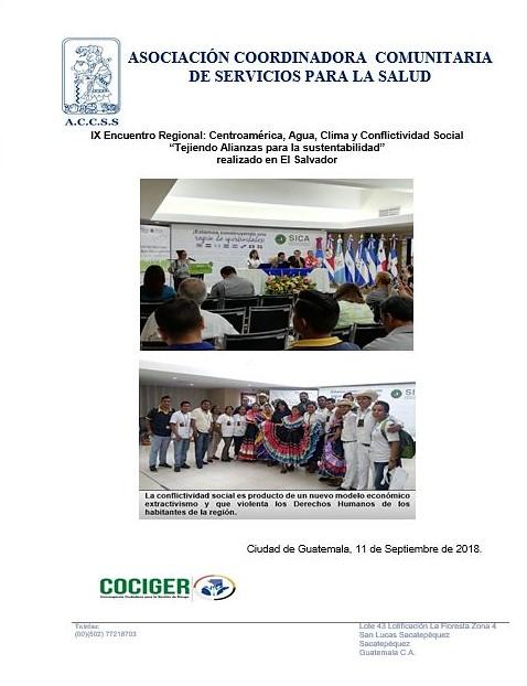 """IX Encuentro Regional: Centroamérica, Agua, Clima y Conflictividad Social """"Tejiendo Alianzas para la sustentabilidad"""""""