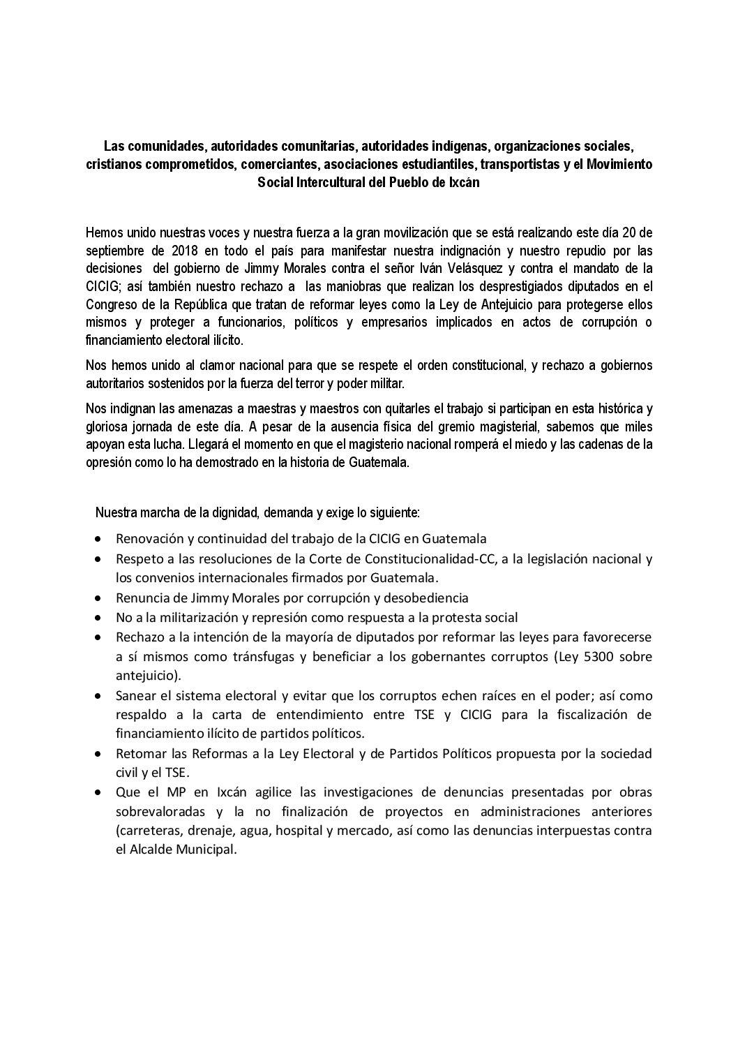 Pronunciamiento Ixcán, El Quiché