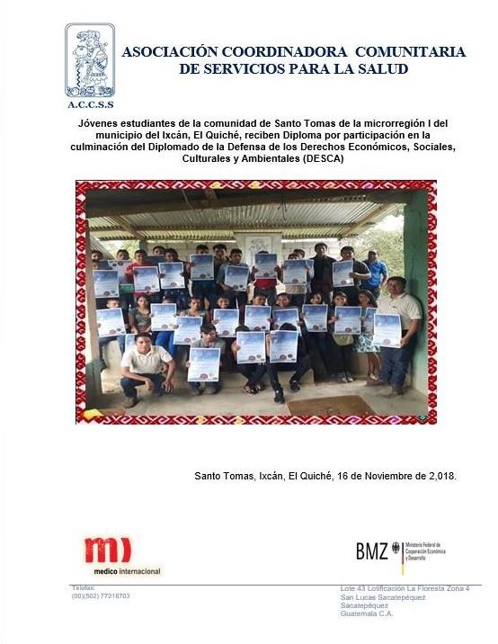 Entrega de Diplomas a jóvenes del Diplomado DESCA de la Microrregión I del municipio de Ixcán, El Quiché