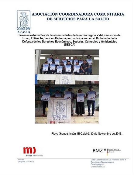 Entrega de Diplomas a jóvenes del Diplomado de las distintas comunidades de la microrregión V
