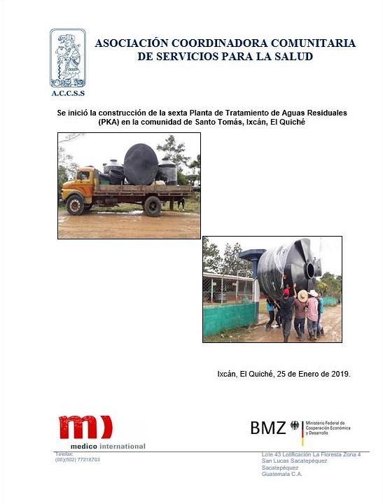 Inicio de Construcción de la obra de Planta de Tratamiento de Aguas Residuales PKA de la comunidad de Santo Tomás