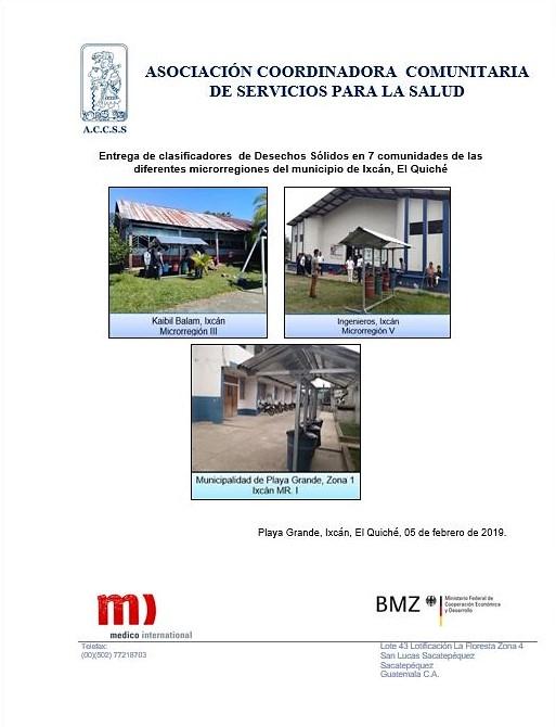 Entrega de clasificadores de Desechos Sólidos en las distintas comunidades del Municipio de Ixcán, El Quiché