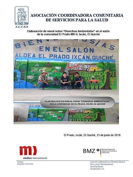 """Elaboración de Mural sobre """"Derechos Ambientales"""" en el salón de la comunidad de El Prado MR-V, Ixcán, El Quiché"""
