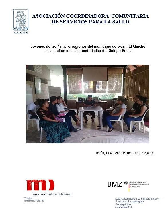 Jóvenes de las 7 microrregiones del municipio de Ixcán, El Quiché se capacitan en el segundo Taller de Dialogo Social