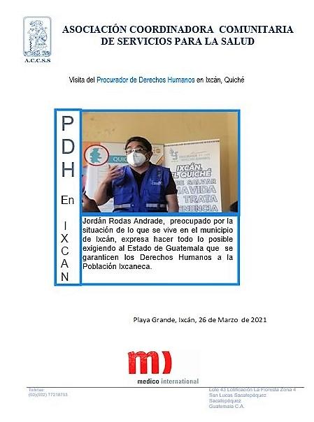 Visita del Procurador de Derechos Humanos en Ixcán, El Quiché